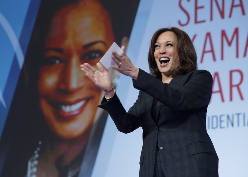 """FILE - In this March 1, 2019 file photo Sen. Kamala Harris, D-Calif., speaks at the Black Enterprise Women of Power Summit, in Las Vegas. A growing list of Democratic presidential contenders want the U.S. government to legalize marijuana, reflecting a nationwide shift. Harris says it's the """"smart thing to do."""" (AP Photo/John Locher, File)"""