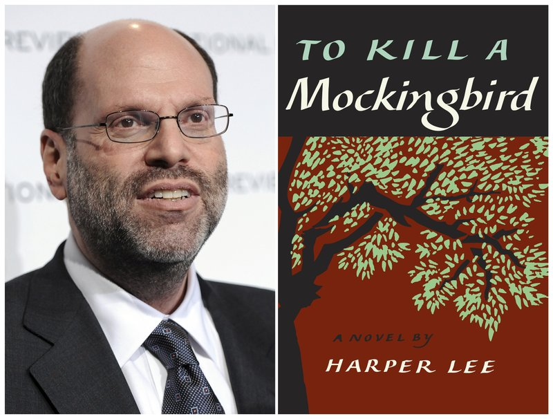 """FILE - This combination photo shows Hollywood and Broadway producer Scott Rudin at The National Board of Review Motion Pictures awards gala in New York on Jan. 11, 2011, left, and the cover of Harper Lee's """"To Kill a Mockingbird."""" Rudin is offering a compromise to community and nonprofit theaters that were forced to abandon productions of the play under legal threat. In a statement provided Saturday, March 2, 2019 to The Associated Press, Rudin said the theaters are being offered the right to perform writer Aaron Sorkin's version of the play now on stage in New York. Rudin hopes this makes up for the """"hurt"""" suffered by theater companies that were told to cancel what he called improperly licensed productions.(AP Photo/Evan Agostini, File)"""
