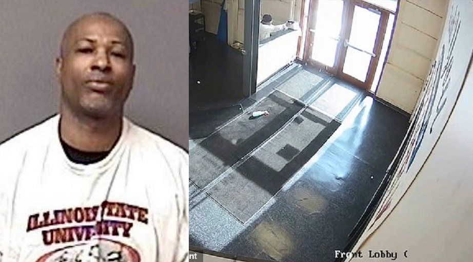 LEFT: This undated booking photo provided by the Aurora Illinois Police Department shows Gary Martin. (Aurora Illinois Police Department via AP) // RIGHT: The video shows the shooter, who had one pistol and eight pistol magazines, in the lobby area of the building, looking out of a window and pacing back and forth before he opens fire.