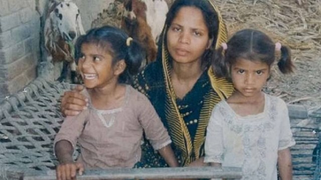 Asia Bibi with her daughters, Isham and Isha, who remained at home in Canada during her incarceration.