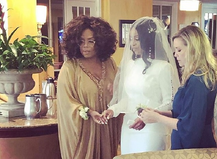 They do: Oprah Winfrey walked Lizhuwani Gloria Rapalalani down the aisle on Saturday in Georgia (with Elizabeth Burns on right from SCAD) (Instagram)