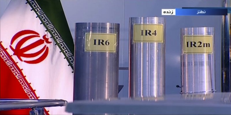 FILE - In this June 6, 2018, file frame from Islamic Republic Iran Broadcasting, IRIB, state-run TV, three versions of domestically-built centrifuges are shown in a live TV program from Natanz, an Iranian uranium enrichment plant, in Iran. A report Friday, May 31, 2019, by U.N. nuclear watchdogs said Iran had begun installing IR-6s like the one shown on the left. That raised questions for the first time about its adherence to a key provision of Iran's 2015 nuclear deal with world powers that was intended to limit the country's use of advanced centrifuges. (IRIB via AP, File)