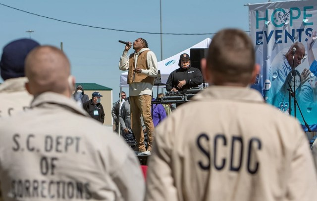Lecrae performs at a Hope Event at a correctional facility outside of Columbia, South Carolina. Photo courtesy of Prison Fellowship