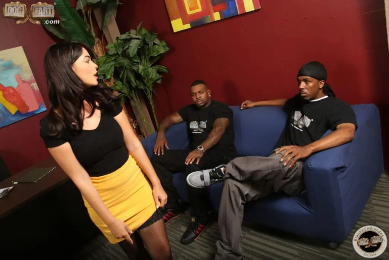 Ava Dalush Takes Two Black Guys at Once - image  on https://blackcockcult.com