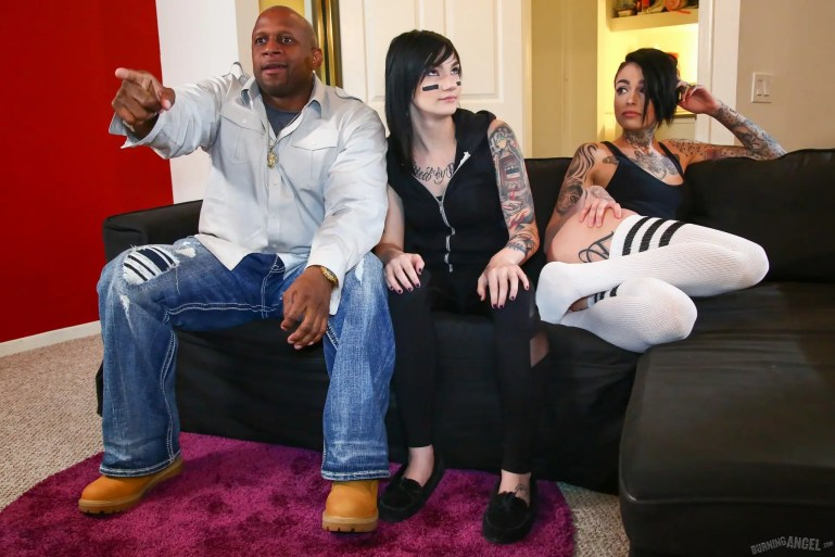 Black Man Enjoying The Game With His Lesbian Slut Slaves - image  on https://blackcockcult.com