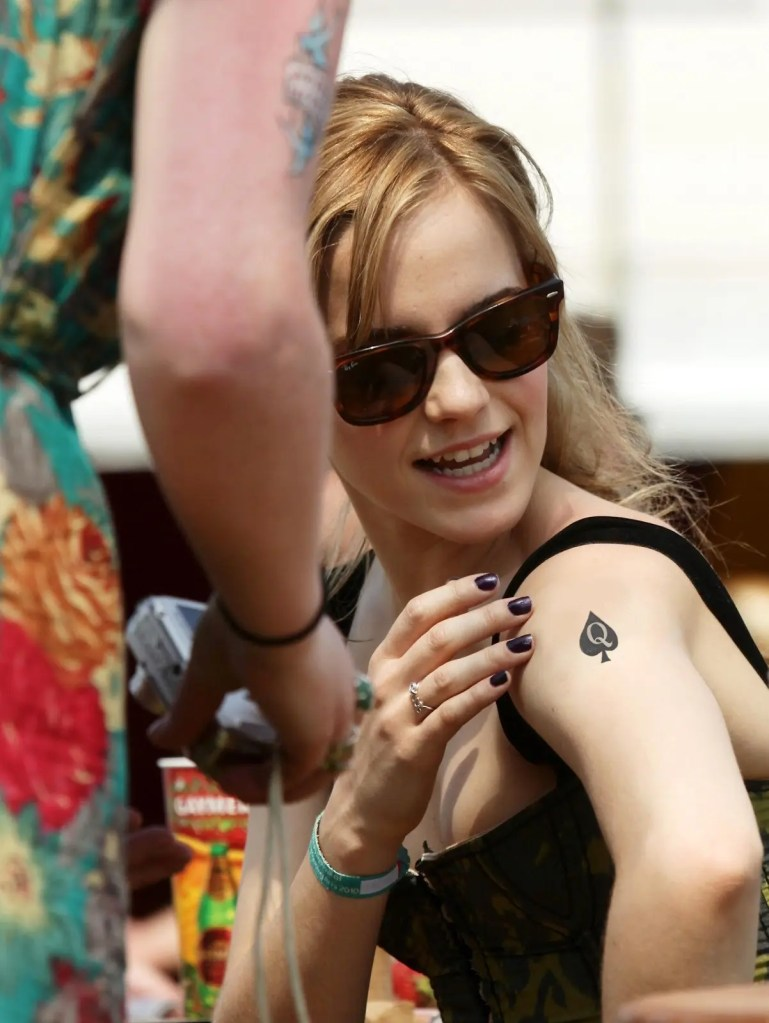 Emma Watson Reveals A Queen Of Spades Tattoo - image  on https://blackcockcult.com