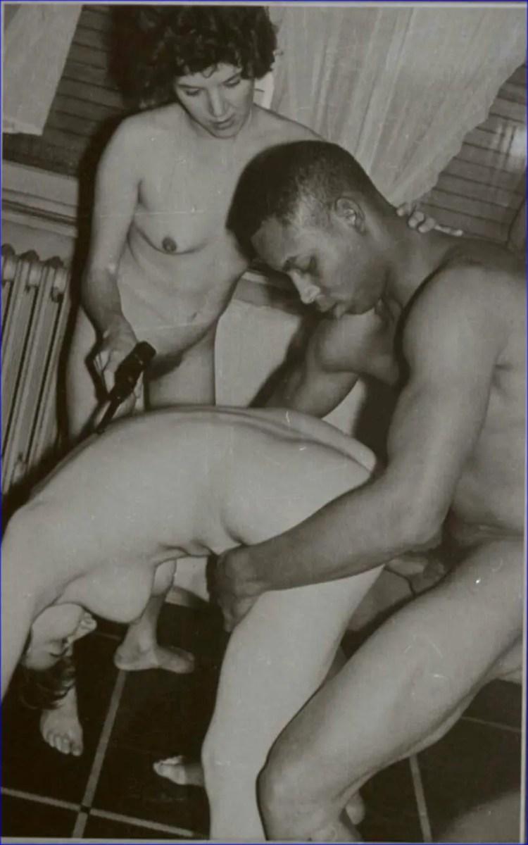 Vintage Interracial Threesome - image  on https://blackcockcult.com