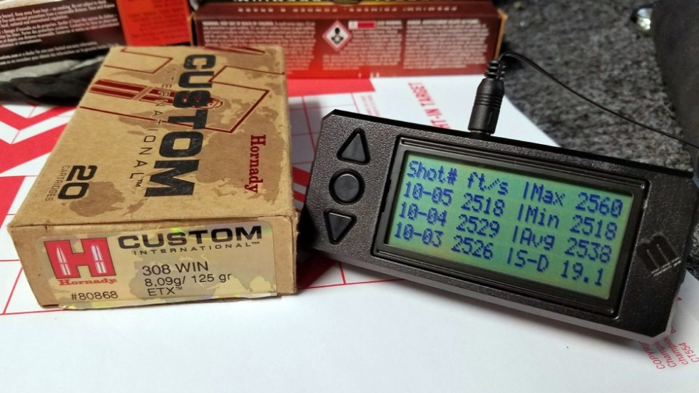 308 Hornady Custom 125 gr ETX Chronograph Data
