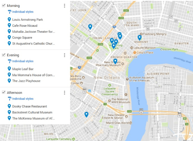 Black Heritage Sites in New Orleans map