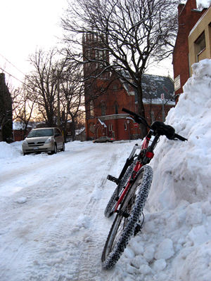 My bike on a snowbank