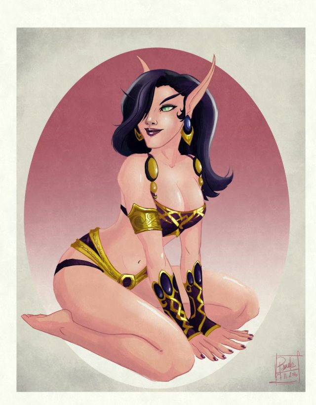 blood elf retro pin up
