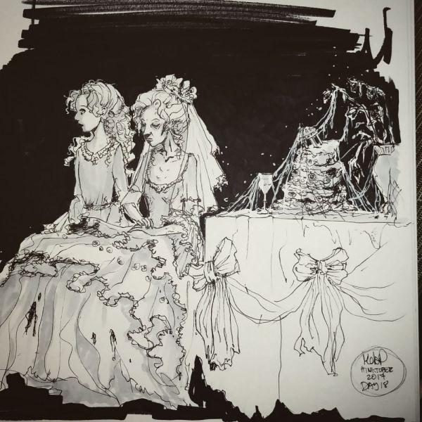 Inktober Day 18 Miss Havisham by Blackdaisies