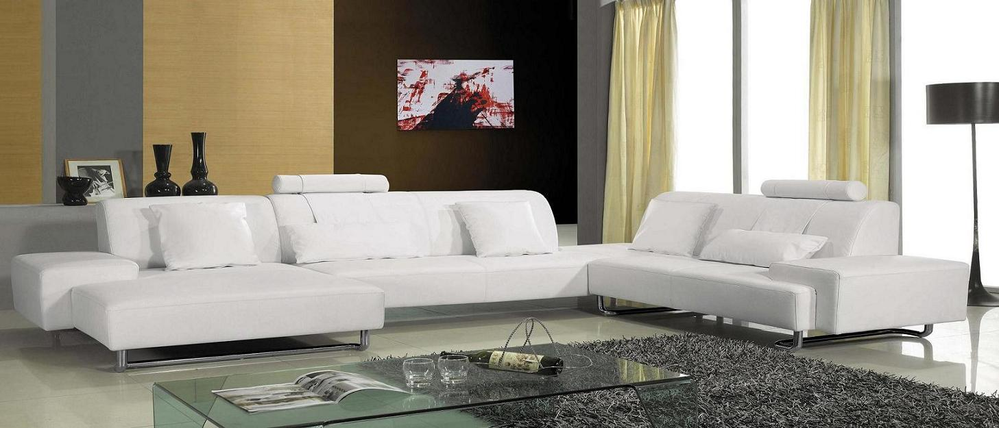 Madrid Modern White Leather Sectional #2238