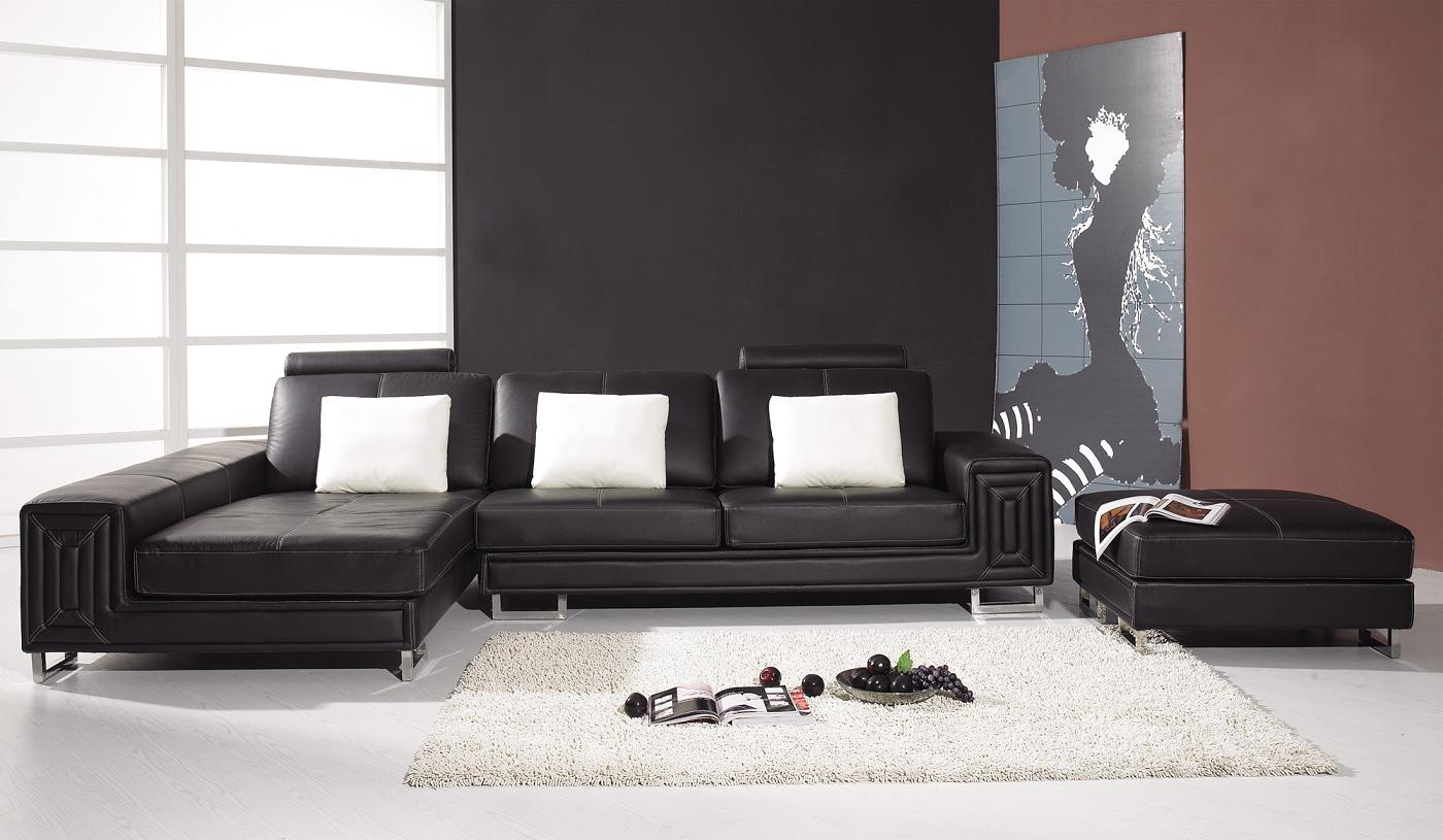 T957 – Modern Black Leather Sectional Sofa