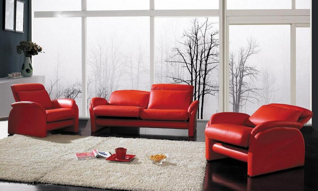 YIl 926 Modern Red Leather Sofa Set