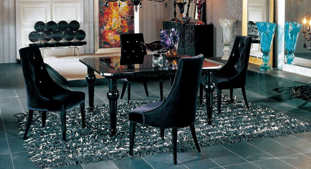 AA031 Black Velour Dining Chair
