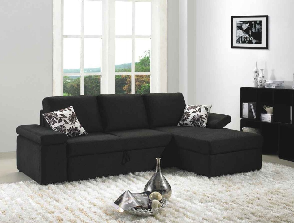 MB1000 – Black Fabric Sectional Sofa Set With Bed