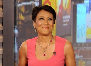 Robin Roberts on GMA wearing a pink dress
