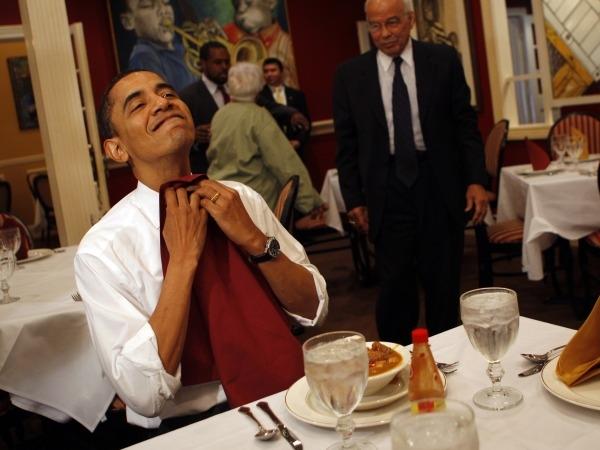 President Obama eating at table