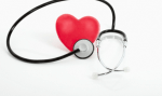 A red heart and a stethoscope