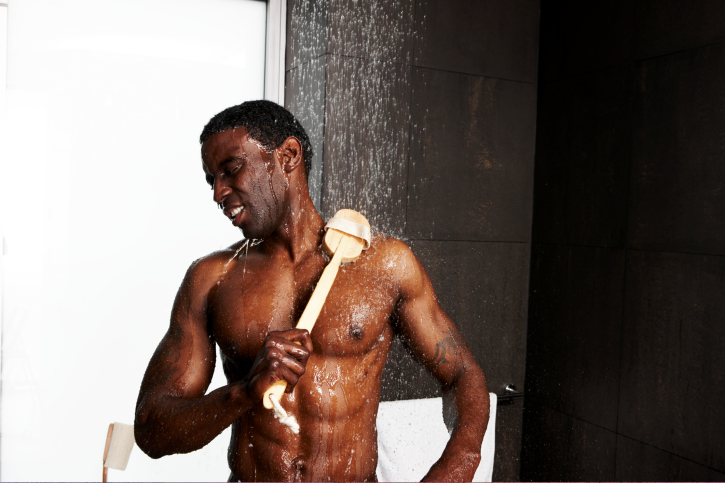 African-American man showering