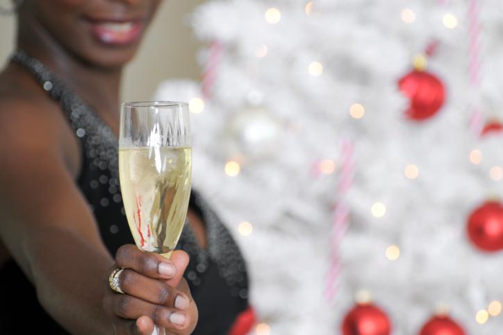 woman celebrating champagne