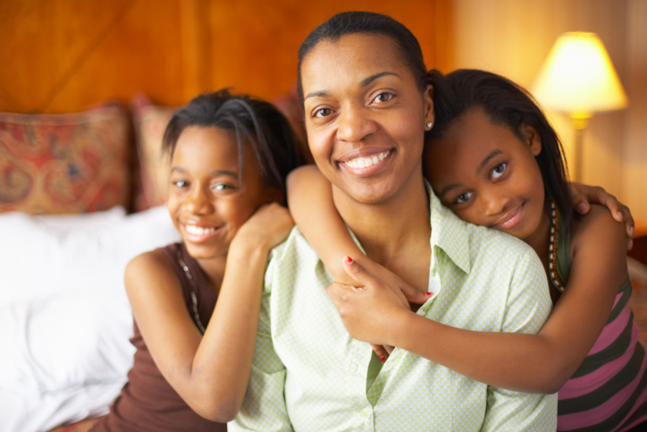 mother with two daughters