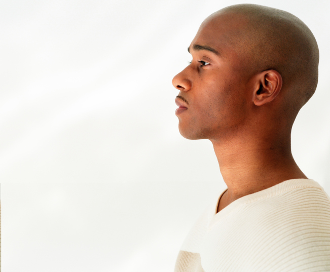 African American man serious side profile