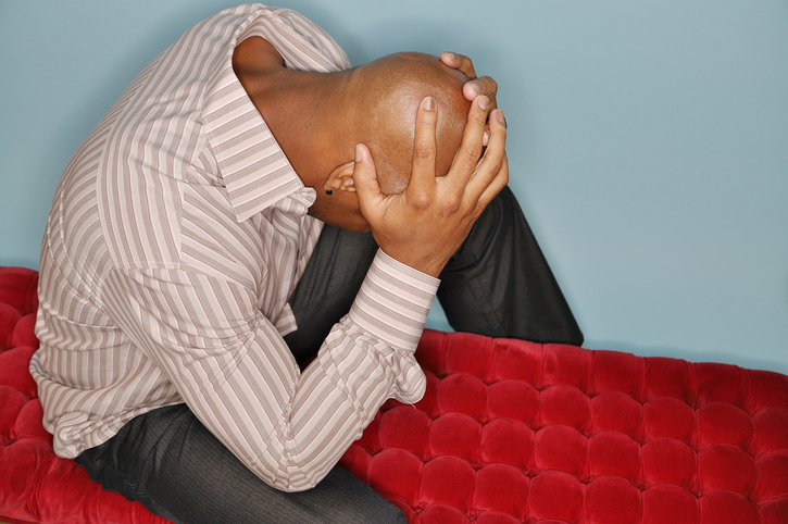 African American man worried frustrated