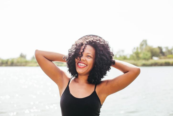 African American woman on beach