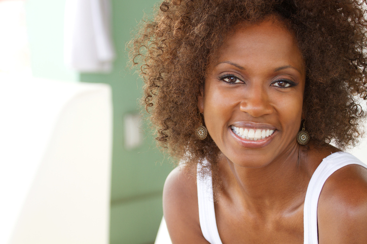 African American woman curly natural hair