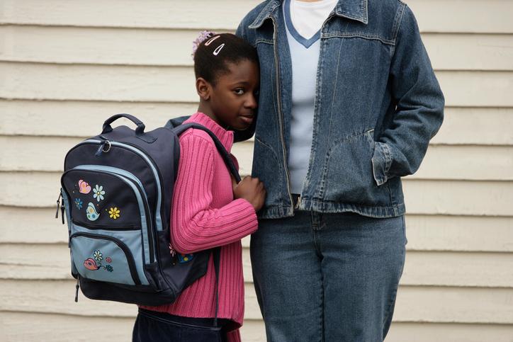 African American girl shy at school