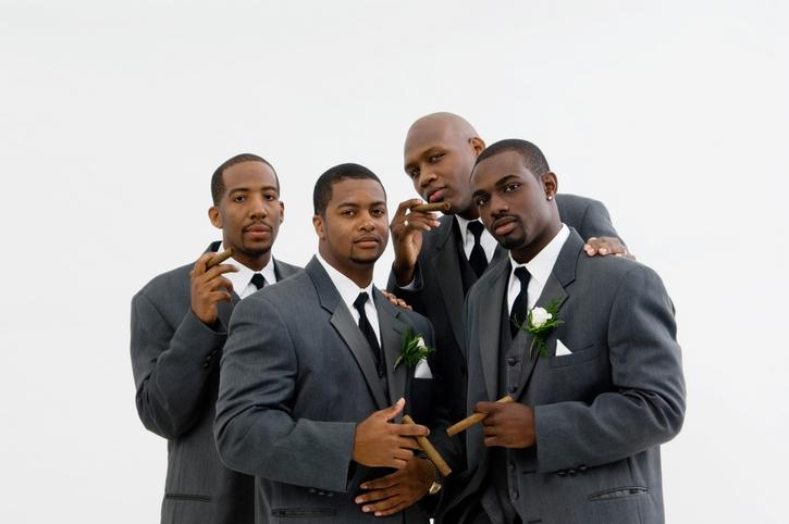 African American groom with groomsmen