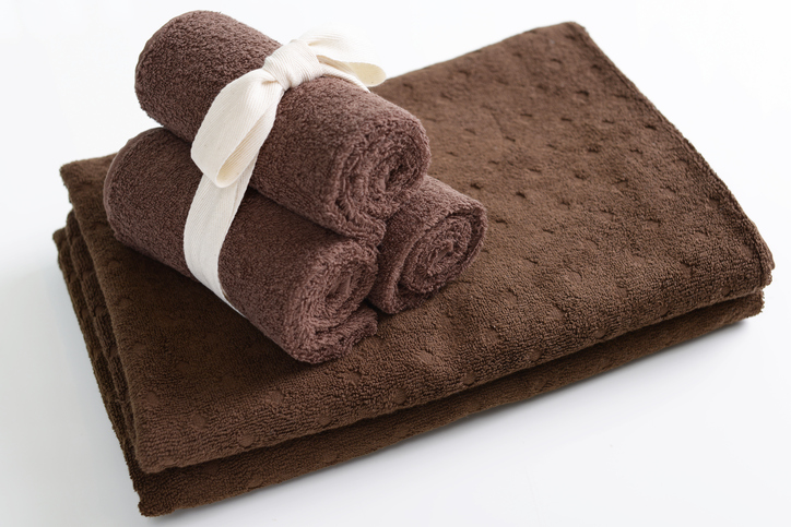 Bath towels on the table