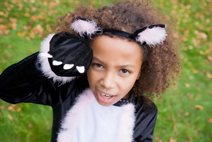 African American girl cat Halloween costume