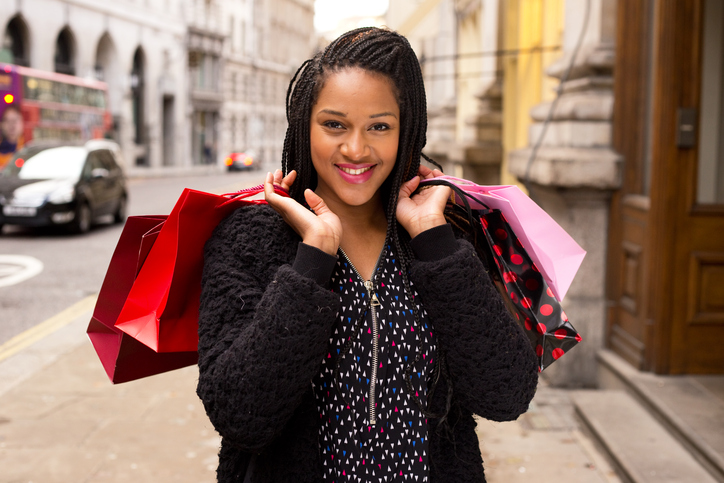 African American woman shopping bags