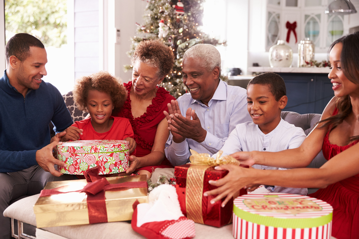 African American family at Christmas