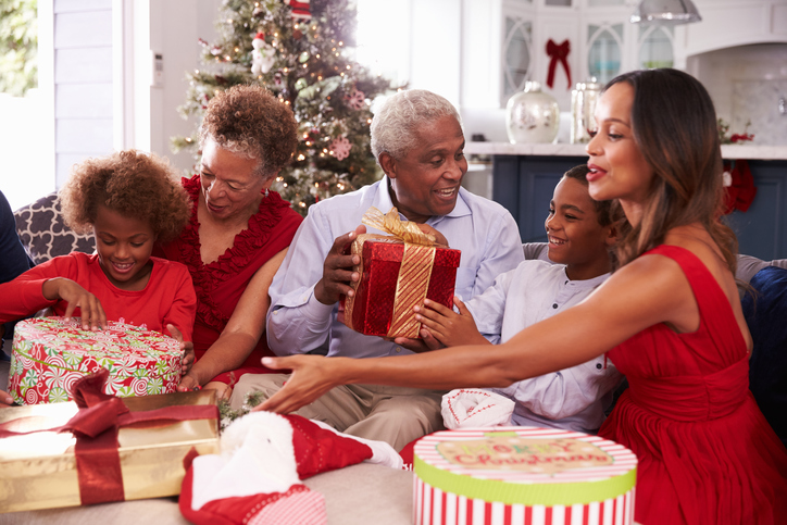 African American family Christmas gifts