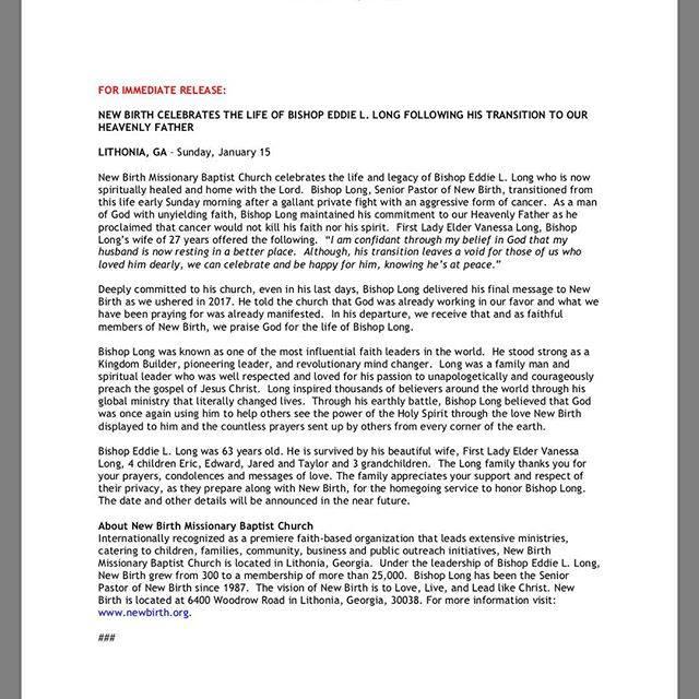 Bishop Eddie Long death official statement