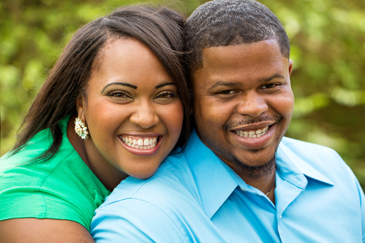 African American couple happy overweight