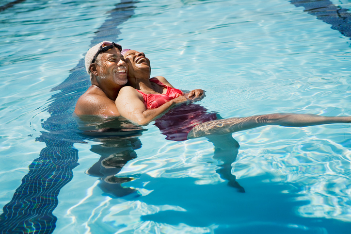 African American older adults swimming