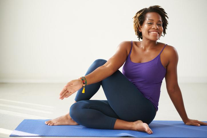African American woman yoga