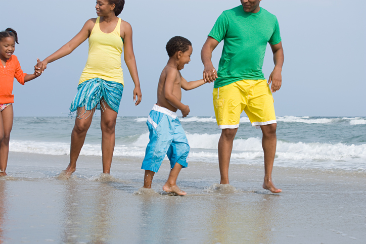 African American family at beach