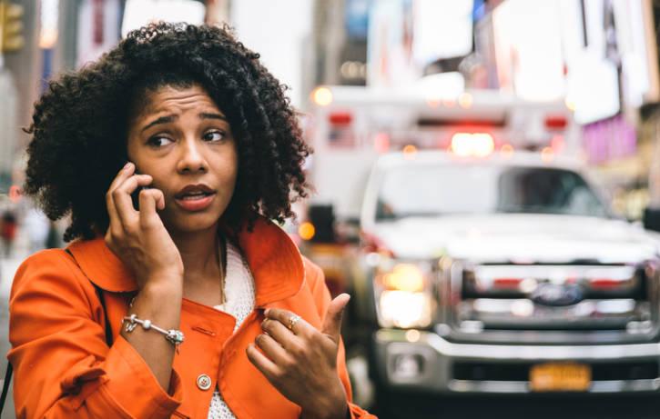 African American woman emergency ambulance 911