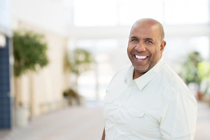 Older African American man smiling