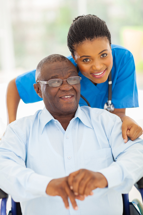 African American man and doctor nurse caregiver