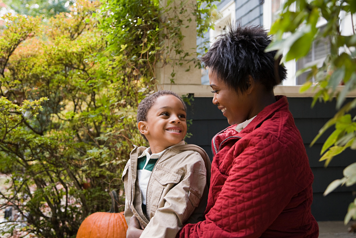 African American mother and son Halloween