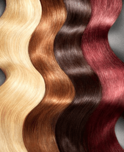wavy strands of different color hair
