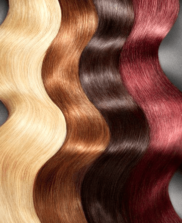 Different colors of wavy hair strands