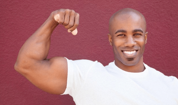 A man flexing his bicep
